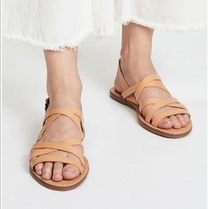 New Madewell Outstock Multi Strap Sandal Tan 6.5